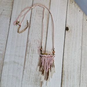 Pink Micro Chain Link Beaded Layered Boho Necklace